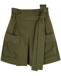 RED Valentino - Army Green Cotton-blend Shorts - Lyst