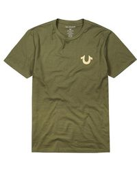 True Religion - Olive Foil-print Cotton T-shirt - Lyst