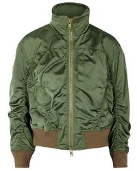 Vince - Green Ruched Satin Bomber Jacket - Lyst