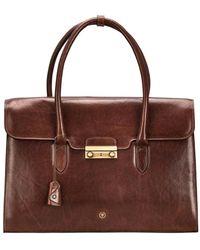 Maxwell Scott Bags Women S Italian Tan Leather Work Bag For Laptop - Brown