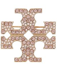 Tory Burch Gold-tone Crystal Embellished Brooch - Metallic