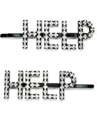 Ashley Williams Help Crystal-embellished Hair Clips - Set Of Two - Metallic