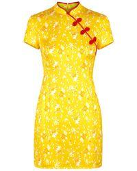 De La Vali Suki Floral-print Satin Mini Dress - Yellow