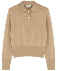 Lee Mathews Daisy Camel Merino Wool Polo Sweater - Natural