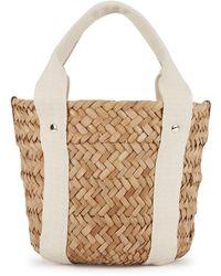 Kayu Colbie Mini Woven Straw Basket Bag - White