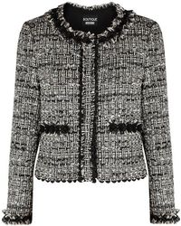 Boutique Moschino - Lace-trimmed Tweed Jacket - Lyst