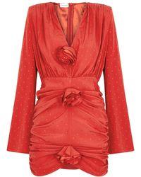 Magda Butrym Red Floral-embellished Stretch-silk Mini Dress