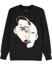 Katya Dobryakova - Faces Appliquéd Cotton Blend Sweatshirt - Lyst