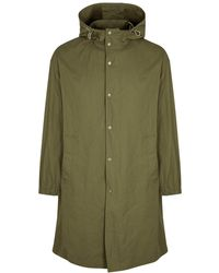 Helmut Lang Army Green Hooded Shell-twill Jacket