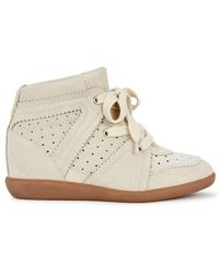 Isabel Marant - Bobby Ecru Suede Wedge Trainers - Lyst