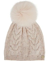 Yves Salomon - Pink Fur Pompom Wool Blend Beanie - Lyst
