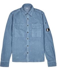 C P Company Blue Stretch-corduroy Shirt