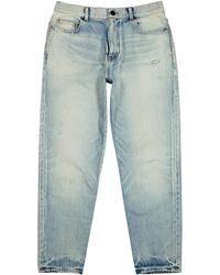 Saint Laurent Light Blue Cropped Tapered Jeans
