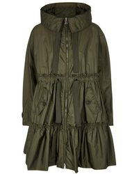 Moncler - Turquoise Olive Tiered Shell Coat - Lyst