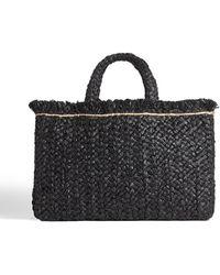 Jigsaw Raffia Straw Rectangular Bag - Black