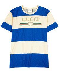 Gucci Logo-print Cotton-jersey T-shirt - Blue