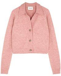 Nanushka Cade Pink Fine-knit Cardigan