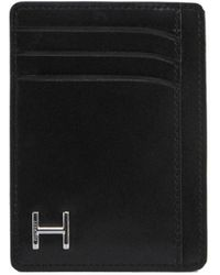 Hackett Leather H Vertical Card - Black