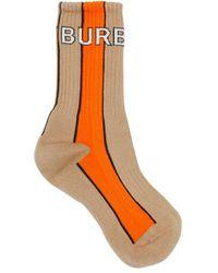 Burberry Logo Intarsia Striped Cotton Blend Socks - Orange