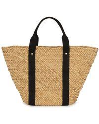 Kayu Colbie Woven Straw Basket Bag - Black