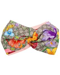 Gucci GG Flora Printed Silk Headband - Pink