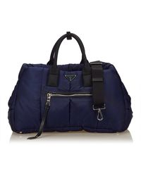Prada Blue Bomber 2 Way Handbag - Black