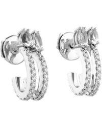 Atelier Swarovski Arc-en-ciel Double Hoop Earrings Swarovski Genuine Topaz - Metallic