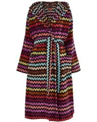 Missoni Warner Zigzag Cotton-terry Robe - Red