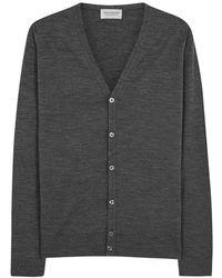 John Smedley - Petworth Charcoal Wool Cardigan - Size M - Lyst