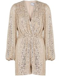 In the mood for love Bjork Silver Sequin Playsuit - Metallic