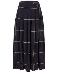 Three Graces London Jessamina Checked Wrap Skirt - Blue
