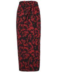 16Arlington Moriyo Red Printed Midi Skirt