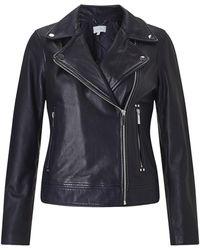 Jigsaw Clean Leather Biker Jacket - Blue
