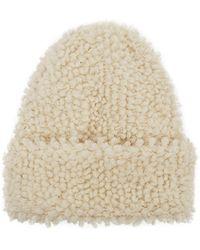 Inverni Giulia Cream Bouclé-knit Cashmere Beanie - White