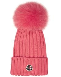 Moncler Salmon Pink Wool Beanie With Pom Pon