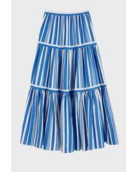 Chinti & Parker Blue Striped Parasol Tiered Maxi Skirt
