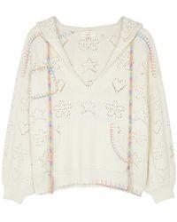 LoveShackFancy Alder White Pointelle-knit Cotton Jumper