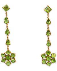 Isabel Englebert Flower Drop Earrings - Green