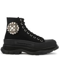 Alexander McQueen Tread Slick Black Embellished Canvas Hi-top Sneakers