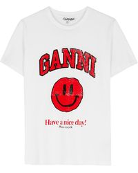 Ganni White Logo Cotton T-shirt