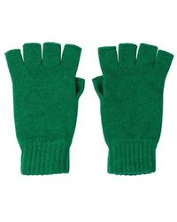 Johnstons Emerald Fingerless Cashmere Gloves - Green