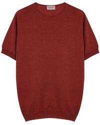 John Smedley Belden Terracotta Wool-blend T-shirt - Red