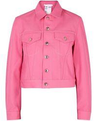 Helmut Lang - Pink Cropped Denim Jacket - Lyst