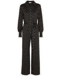 Stine Goya Lana Polka-dot Jersey Jumpsuit - Black