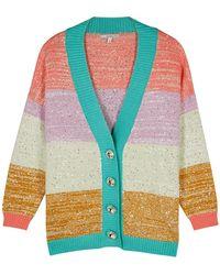 Olivia Rubin Cecily Striped Sequin-embellished Cardigan - Multicolor