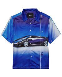 Blood Brother Superfast Blue Printed Satin Shirt