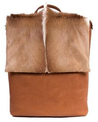 Sherene Melinda - Natural And Terracotta Leather Backpack With A Fan - Lyst