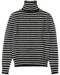 Saint Laurent - Monochrome Striped Mohair-blend Jumper - Lyst