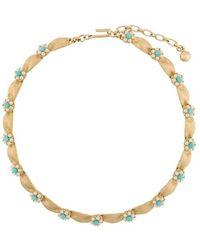 Susan Caplan 1960s Vintage Trifari Faux Turquoise Necklace - Metallic