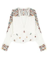 Free People - Ava Cropped Embroidered Gauze Top - Lyst